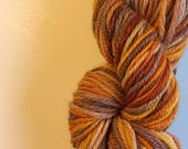 Yarn FREE SHIPPING Hand dyed Yellow Orange Brown gray 100% worsted weight wool 110 yards Ready to ship