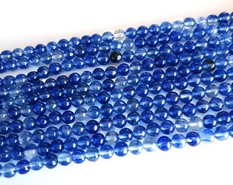 "Natural Blue Watermelon Glass Beads 6mm Round Polished 15.5"" Full Strand Gemstone"