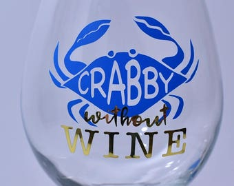 Crabby Without Wine Stemmed Wine Glass
