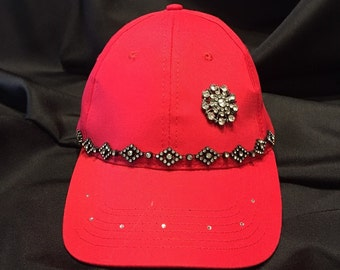 Bling Sparkle Embellished Red Hat