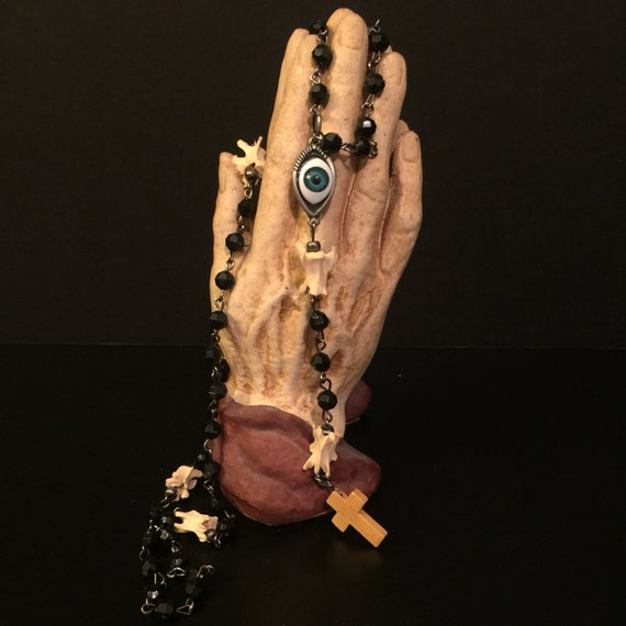 Unholy Rosary - mink bone and black beads, All-Seeing
