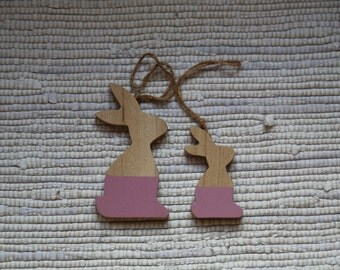 Easter bunny (set of 2 bunnies). Wooden Easter ornaments. Wooden decorations for Easter spring tree. Easter bunny.