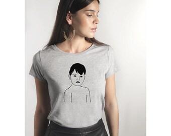 """Boy"" t-shirt - Heather grey - woman - 100% cotton organic"