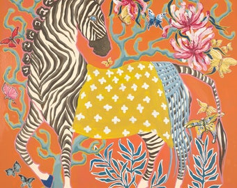 Zebra on Orange by Paige Gemmel