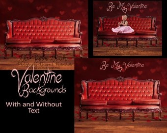 Valentine's digital backdrop, newborn digital backdrop, family backdrop, child backdrop, red couch, antique couch, Victorian couch, roses