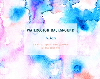 """Abstract Alien Theme - Watercolour Background 8.2""""x11.6"""" printable, free commercial use , Watercolor digital texture paper instant download"""