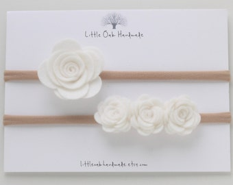 Set of 2 Wool Felt Rose and Crown Felt Rose Headband - White - Baby Headband - Nylon Headband