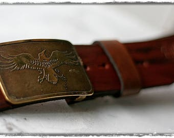 """Leather belt brass buckle """"Raven to lead"""" ver. 1"""