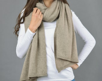 Cashmere Wrap Scarf Shawl Travelwrap Super Soft 2ply Knitted Oversize Luxury CAMEL BROWN BEIGE - Made in Italy