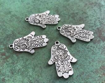 Qty 4 Antique Silver Hamsa Pendants, Hamsa Charms, Hand Of Fatima, Nickel Free, Lead Free