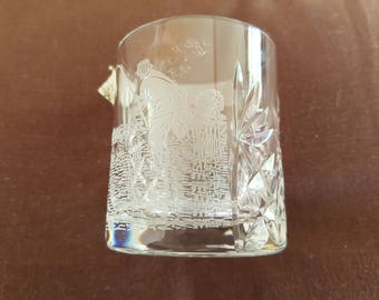 Royal Scot lead crystal glass with fishing scene