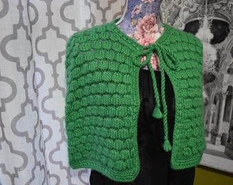 Fairy Tale Damsel Green Vintage Knitted Capelet/Sweater Cape Cropped with Bow Tie/ Size M/ By: Lucie