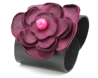 FUN LEATHER BANGLES  Handmade, Real Leather Bangles, Leather Flower Bracelet, Girls Leather bracelet
