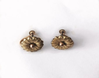 Vintage 1940's KREMENTZ Signed Screw Back Rolled Gold Earrings