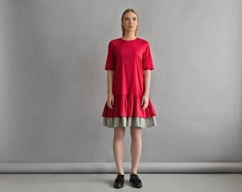 S SIZE! Women red dress - Frilled bottom dress - Women summer dress - Womens fashion dress - Bright red dress - Short sleeve casual dress