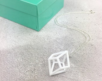 3D printed white geometric statement necklace