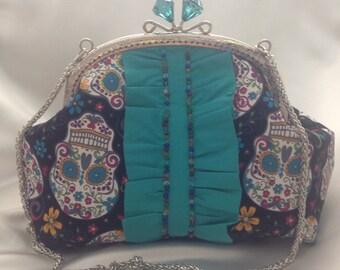 Funky sugar skull clutch // rockabilly // handbag // kiss lock frame // frills // glass beads // OOAK