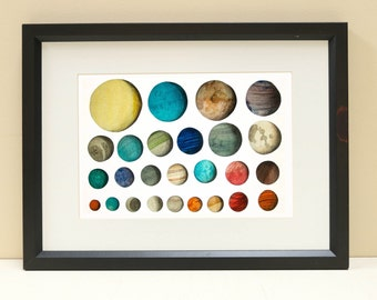Planet illustration, Planet print A4 and A3, Space and science art