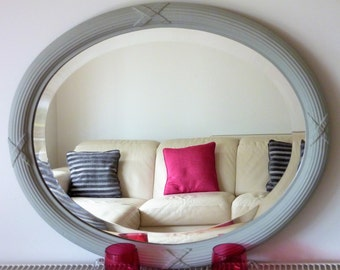 Vintage French Antique Oval Mirror With Reeded Wooden & Gesso Frame, Bevelled Glass And Chalk Paint Circa 1910