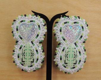 Gorgeous mint green beaded earrings