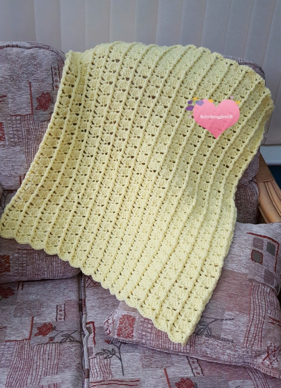 Lemon Timeless Memories textured baby blanket/afghan. Crocheted. With FREE mini board book.