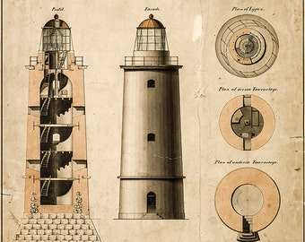 Lighthouse Print, Grunge, Norway, Architecture, Engineering, Plan, Art, Illustration, Wall Art, Ocean, Sea, Beach, Print, Boats, Gift