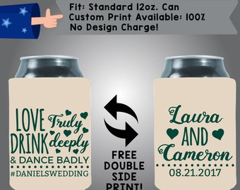 Love Truly Drink Deeply Dance Badly #Hashtag Names Date Collapsible Fabric Wedding Cooler Double Side Print (W38)