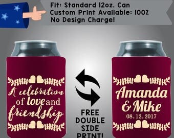 A Celebration of Love and Friendship Name Date Fabric Wedding Can Coolers, Cheap Can Coolers,  Wedding Favors (W245)