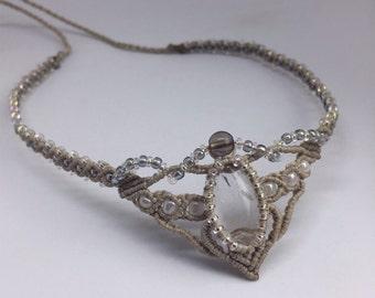 Macrame tiara with quartz. Tiara with crystal. Crystal diadema