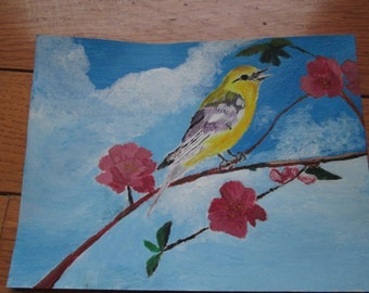 Warbler amid pink flowers, greeting card