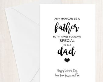 Personalised Father's Day Card- 'Any man can be a father...'