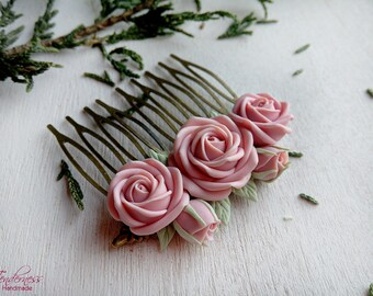 Beautiful hair comb, elegant hair comb with pastel pink roses, gift for her