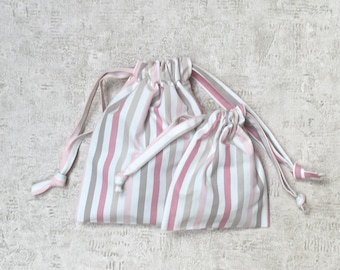 smallbags with pink stripes - 2 sizes - reusable cotton bags - zero waste