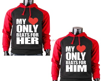 Schön My Heart Only Beat For Him Her Couple Hoodie Matching Couple Hoodie Valentines  Day Gift Couple