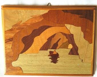 Vintage Wood Inlay Mini Wall Hanging