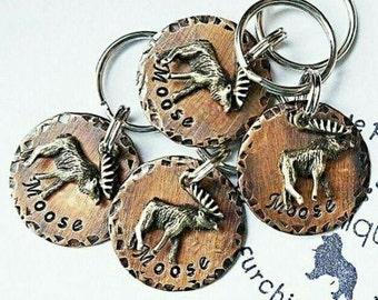 Dog Tags - Pet ID Tags - Cat Tag - Pet Accessories - Collar Tags - Pets - Pet Tag - Metal ID - Custom ID Tag - Moose Rustic