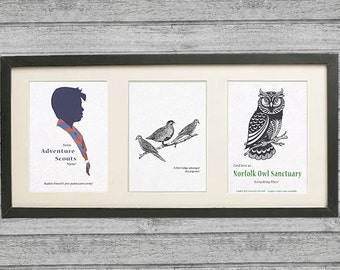 Framed Alan Partridge Gift with 3 original prints of top quotes -vintage look for a subtle dose of Alan. Greta gift for Partridge fan.