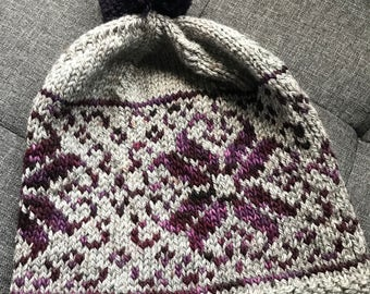 Grey and purple fairisle hand knitted beanie | Pure wool