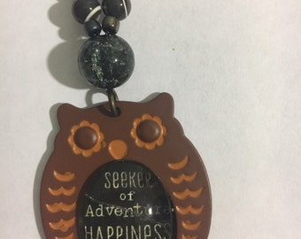 Seekers of Happiness, Truth and Adventures Owl RearView Mirror Charm/Accessory / Inspirational Owl Charm /Happiness Owl Charm