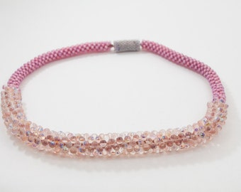 Opaque Pink Beaded Necklace with Magnetic Clasp (Short)