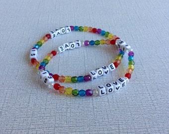Love is love rainbow stretch beaded bracelet