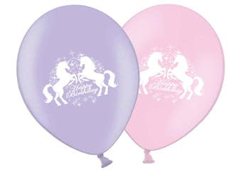 "Unicorn Happy Birthday 11"" Printed Pink And Lavender Latex Balloons Hand Made In UK By World Of Party - Pack of 25 with 25 metres of ribbon"