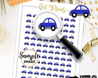 Little Blue Car Stickers, Planner Stickers, Printable Stickers, Scrapbook Stickers
