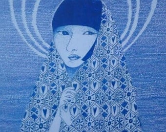mary poster A3 size ballpoint pen, blue patterns.