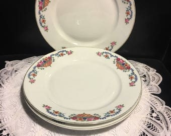TK Czechoslovakia Fine Bone China Salad Plate  Pretty basket design pattern. 100 years old  and in perfect condition.