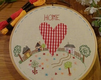Housewarming, New Home, Gift, Hand embroidery,  Wall hanging, Wall art, Multi coloured, Pretty, Houses, Trees, Flowers, Embroidery, Hoop