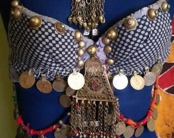 blue tribal bra