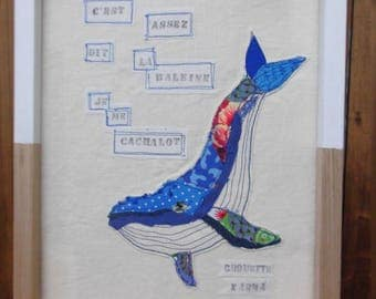 free embroidery with Whale canvas