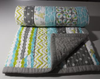 baby quilt, flannel baby blanket, flannel baby quilt ready to ship