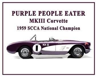 Purple People Eater, Corvette, 1959 Corvette, Stingray, Corvette Art, Corvette Gifts, Poster, Print, Muscle Car, 8x10, 11x14, 16x20 JS0969